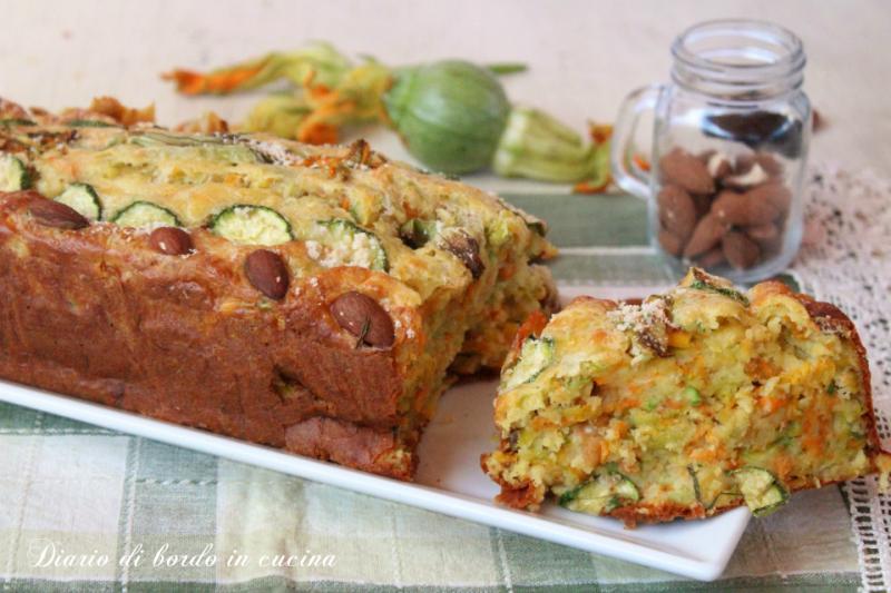Plumcake salato con fiori di zucca e zucchine