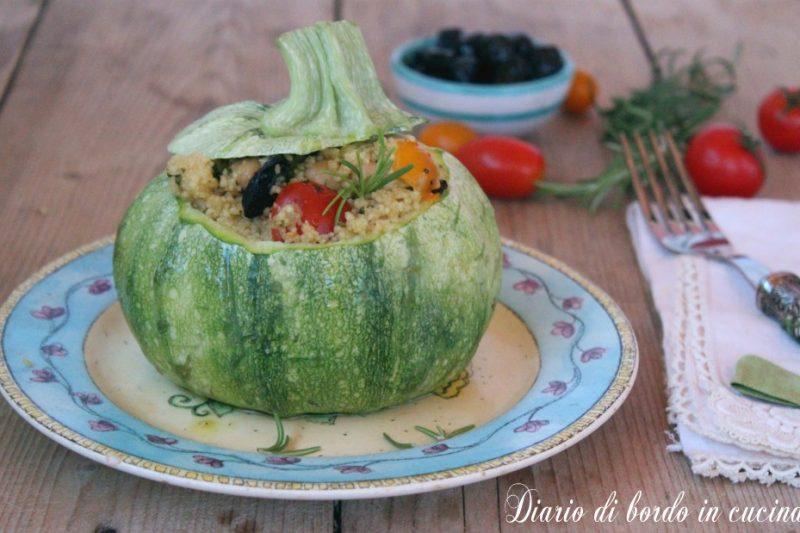 Zucchine tonde ripiene di cous cous