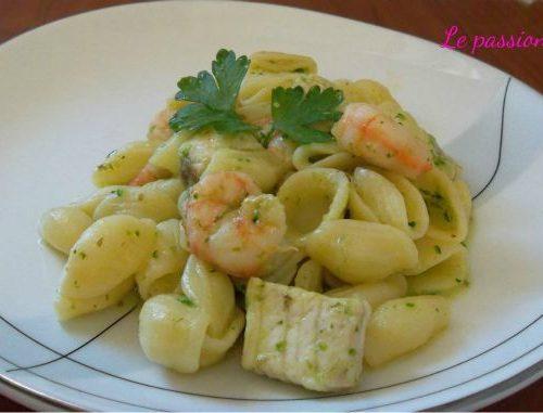 Orecchiette zucchina gamberetti e pesce spada