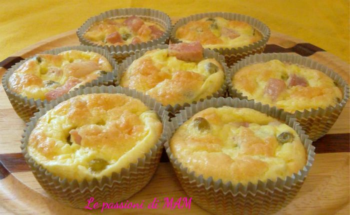 muffin slati prosciutto e piselli