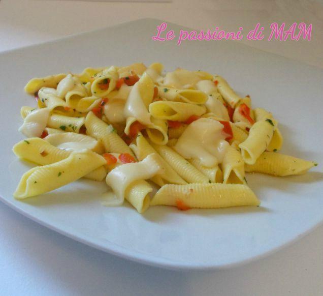 pasta con peperoni e scamorza affumicata