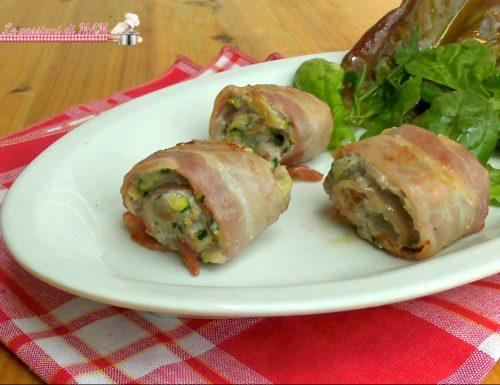 Involtini di pancetta con zucchina e carne