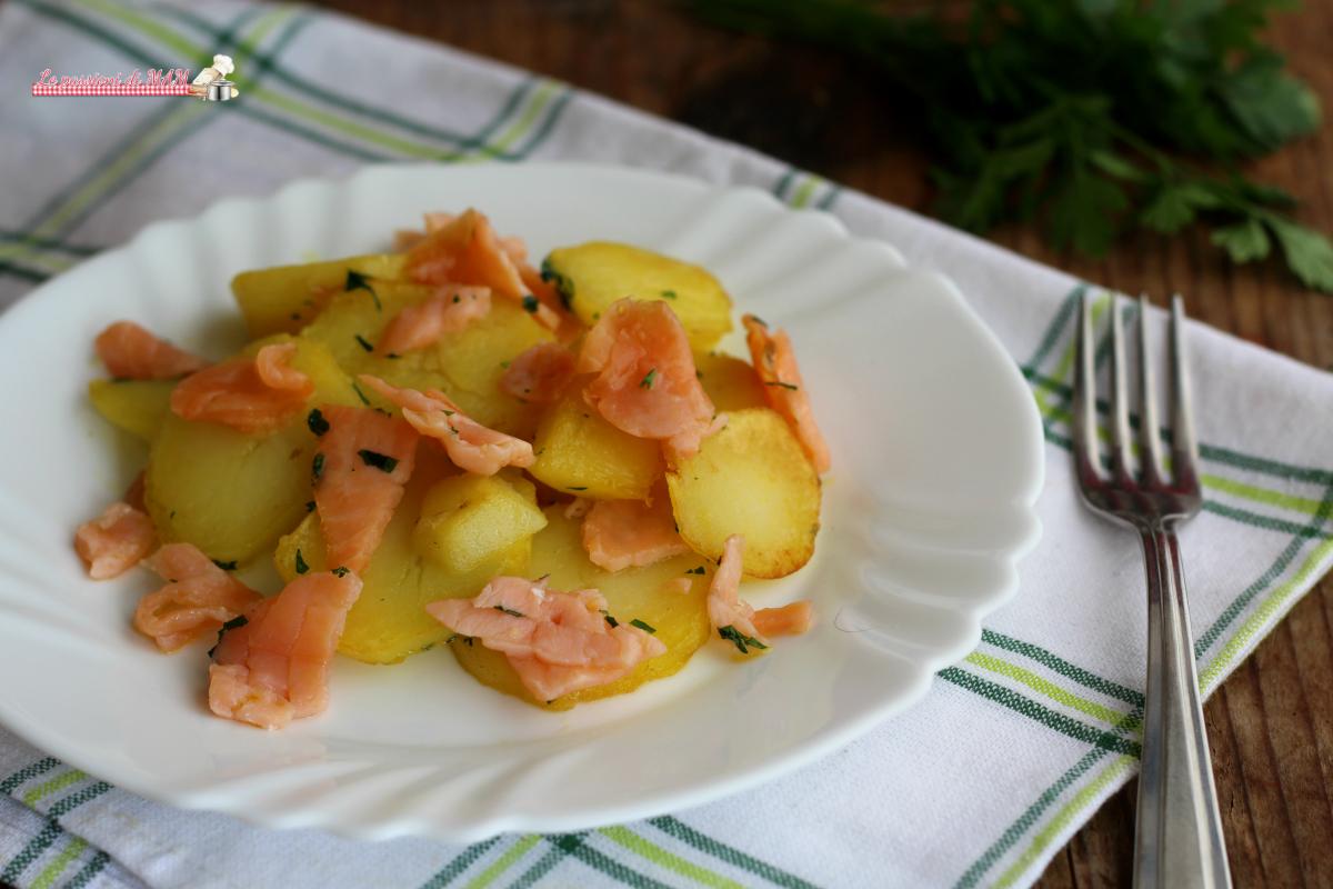Patate souté con salmone affumicato