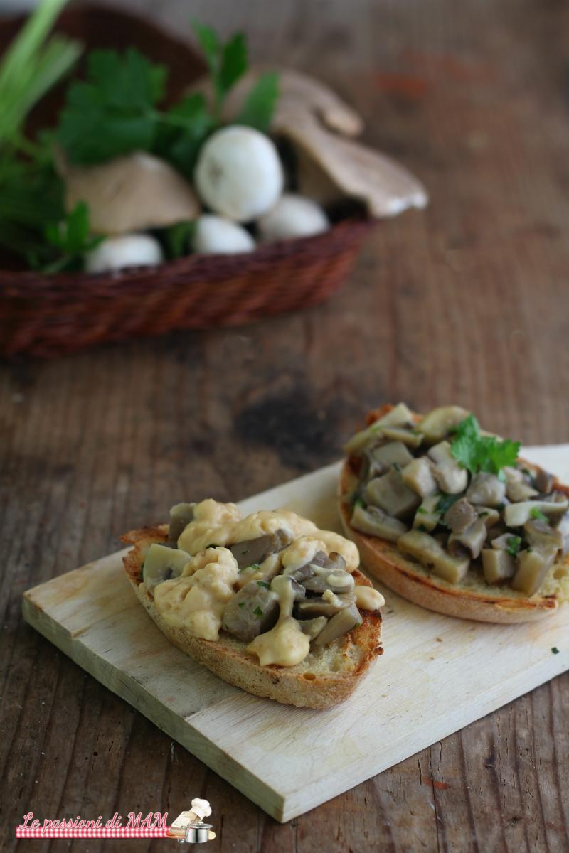 bruschette con funghi e fonduta di formaggi al tartufo