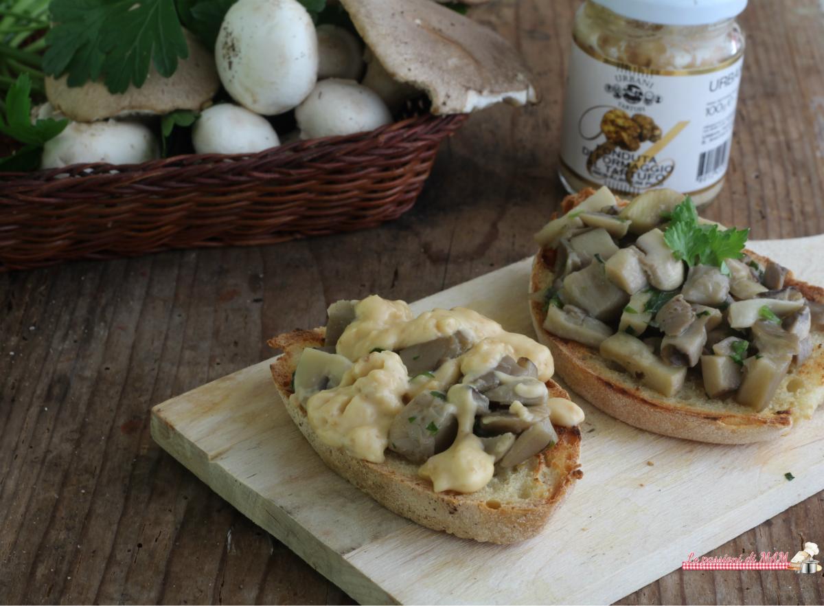 bruschette con finghi e fonduta di formaggi al tartufo Urbani