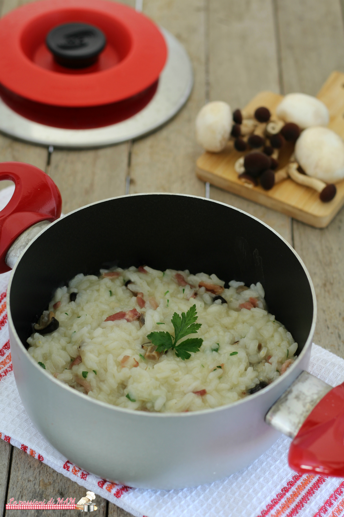 Risotto funghi e speck con Magic Cooker