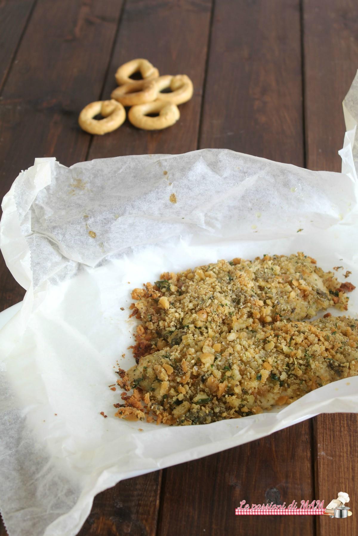 filetti di merluzzo con panatura di taralli