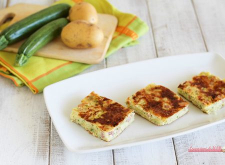 Frittata con patate zucchina e pancetta