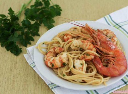 Spaghetti con i gamberoni in bianco