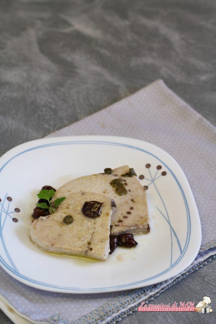 Pesce Spada in Bianco, con Olive e Capperi
