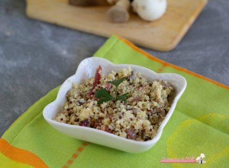 Cous cous e quinoa con funghi e speck