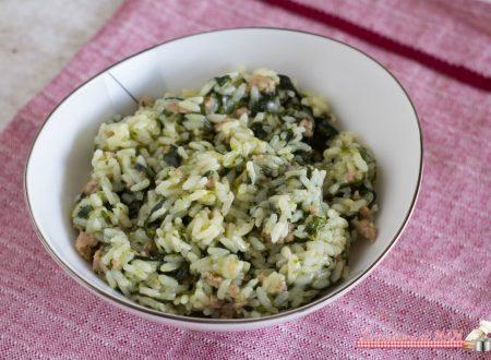 Risotto con salsiccia e spinaci