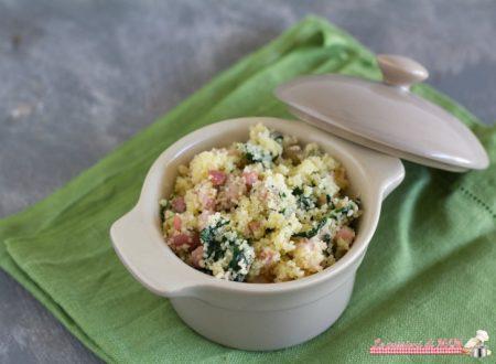 Cous cous con salsiccia pancetta e spinaci