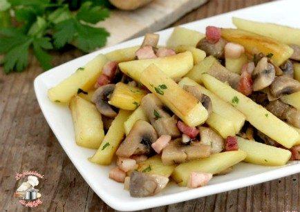 Patate funghi e pancetta