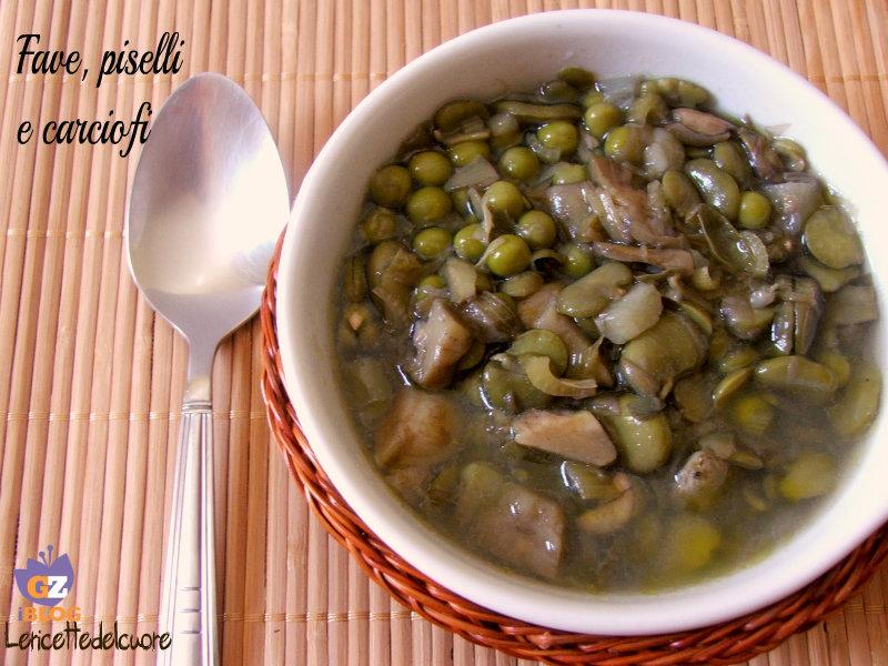 zuppa di fave piselli e carciofi, fave, carciofi, piselli, zuppa, le ricette del cuore, ricetta, ricette facili, facile, primo