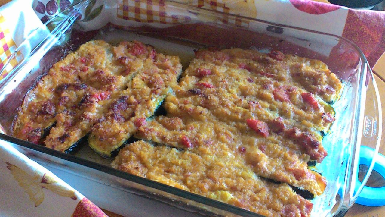 Zucchine ripiene, gratinate al forno
