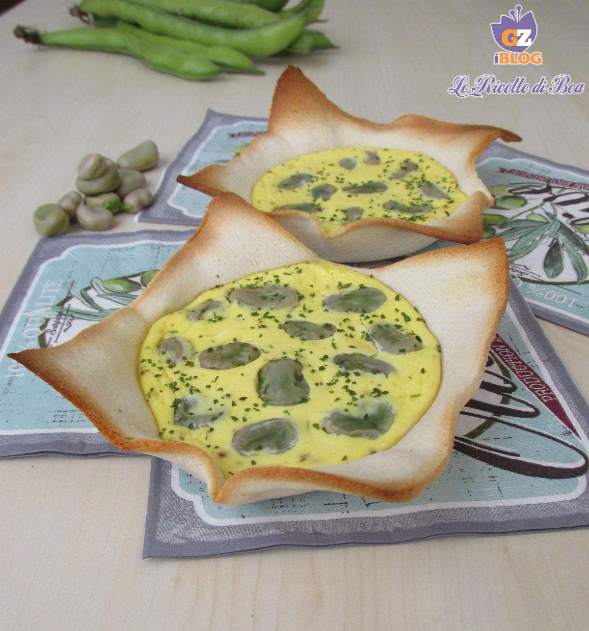Cestini di pane con le fave al forno