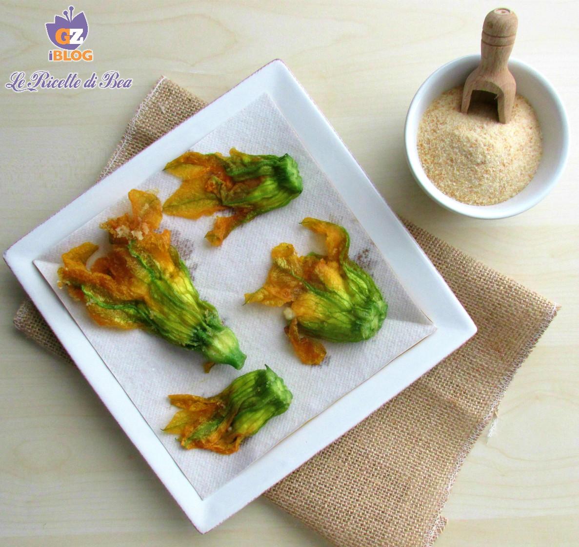 Fiori di zucca fritti con ricotta senza pastella le for Pastella per fiori di zucca fritti