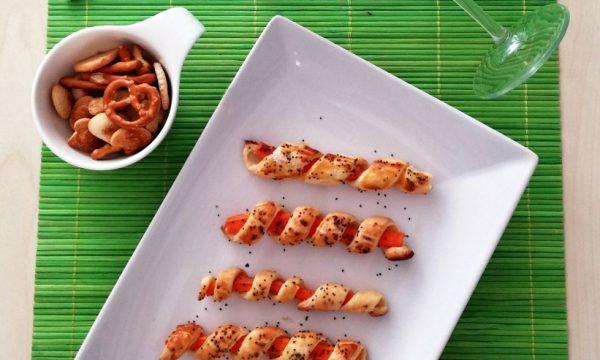 Stick di carote con pasta sfoglia