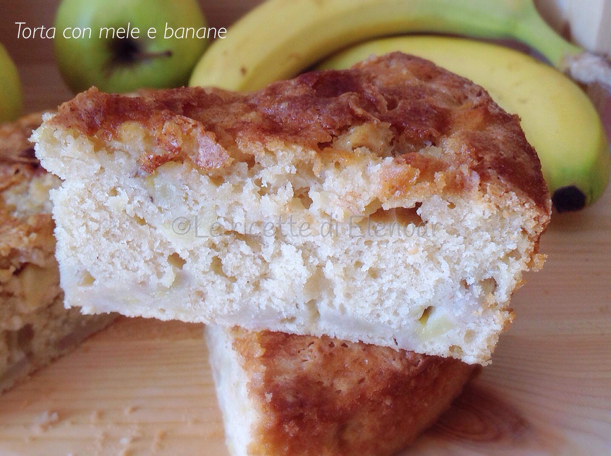 Torta con le mele e banane