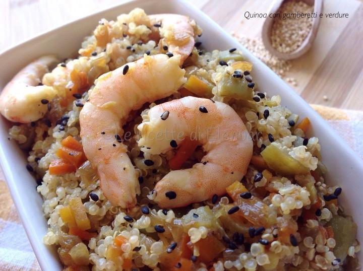 Quinoa con gamberetti e verdure