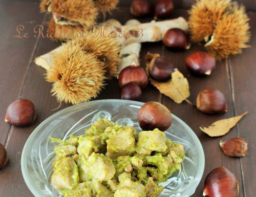Gnocchi di castagne con fontina, broccoli e salsiccia