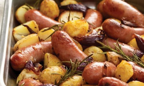 Salsicce al forno con patate