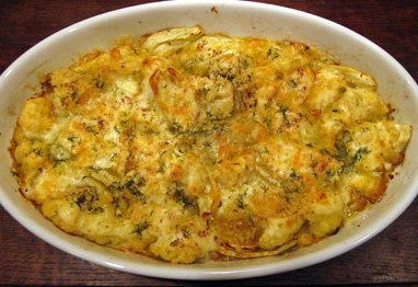Uova finocchi e mozzarella gratinati
