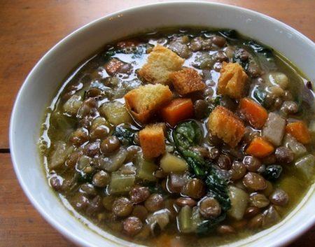 Zuppa di finocchi con lenticchie