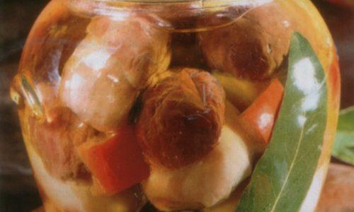 Conserva di porcini con i peperoni