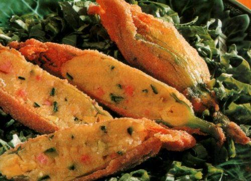 Fiori di zucca al prosciutto cotto e zucchine
