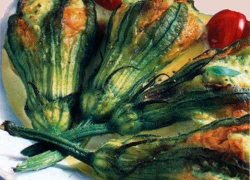Fiori di zucca farciti al forno