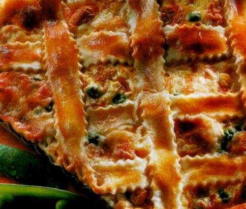 Torta salata di piselli e prosciutto cotto