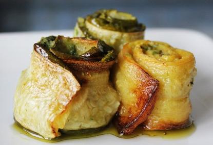 Rotolini di zucchine al pesce persico
