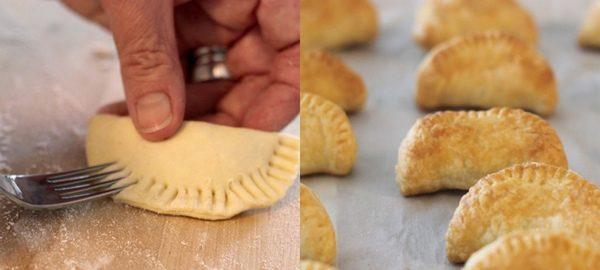 Mezzelune di pasta sfoglia ai wurstel