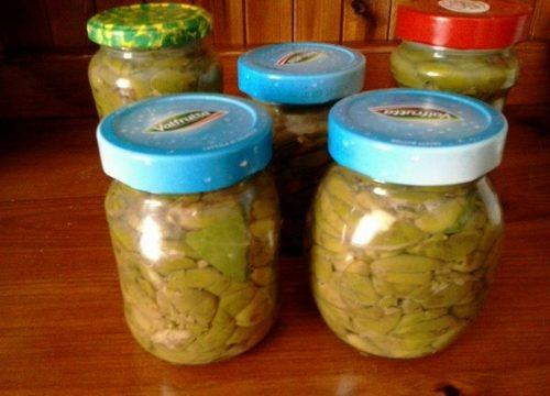 Conserva di olive verdi schiacciate
