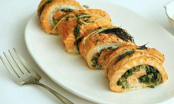Salmone farcito agli spinaci
