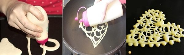 Crepes  ricamate a forma di cuore per San Valentino