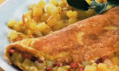 Omelette con pancetta patate e fontina