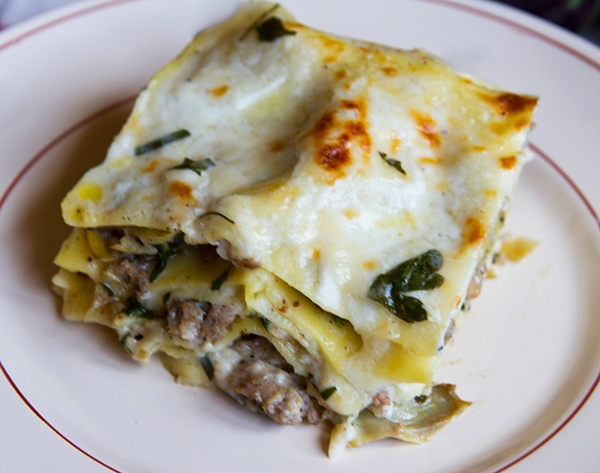 Lasagne con spinaci e salsiccia