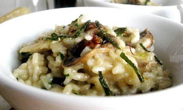 Risotto alle olive e funghi sott'olio