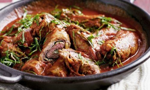 Involtini di carne con prosciutto e pancetta