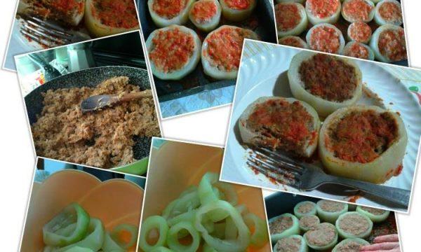 Zucca verde farcita con carne e melanzane