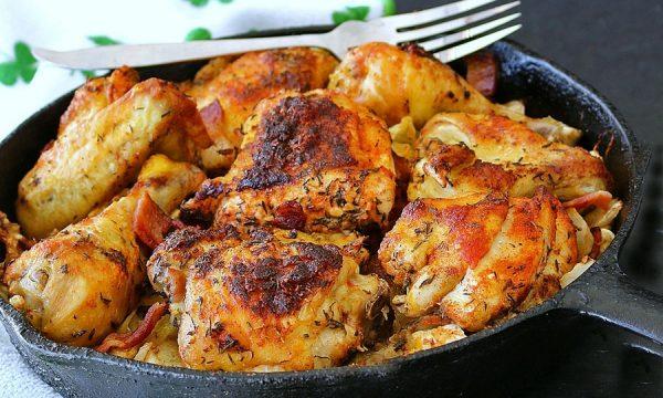 Pollo alla pancetta e verza