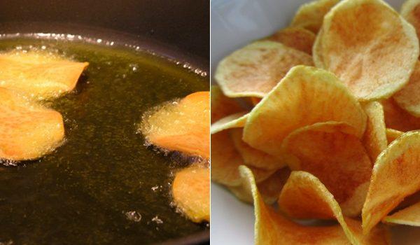 Come fare delle patate e chips fritte croccanti