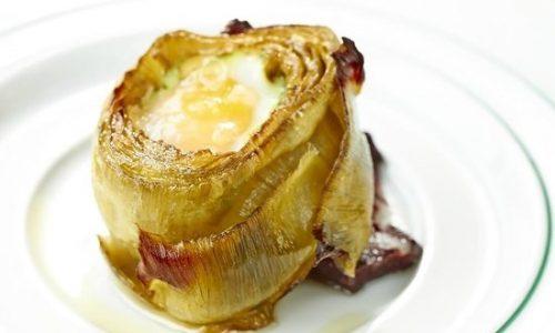 Carciofi farciti al prosciutto cotto e uova
