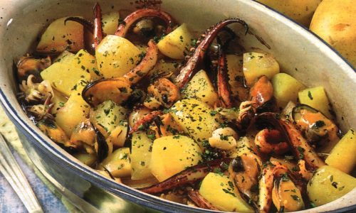 Teglia di patate ai frutti di mare