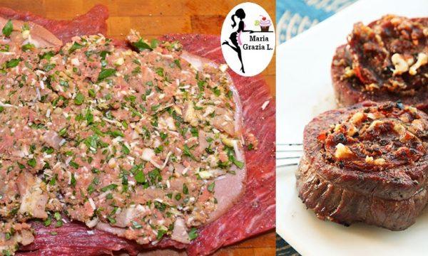 Polpettone di carne e mortadella farcito con salsiccia