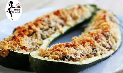 Zucchine farcite ai funghi porcini e mozzarella