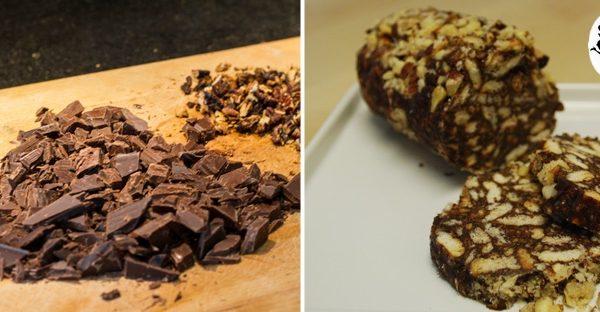 Salame di cioccolata noci e canditi